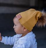 Strojmisie GELE BEANIE MET POM  | KINDER MUTS MOSTERD | BABY MUTS OKER GEEL