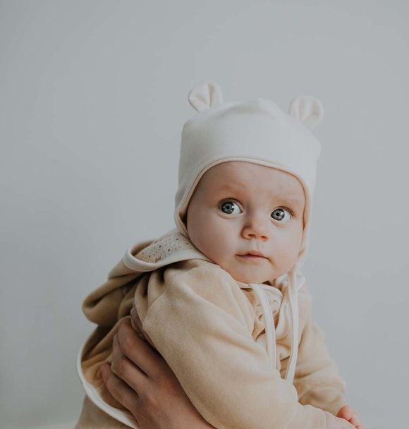 Wooly Organic BABY HAT WITH TEDDY EARS - ECRU