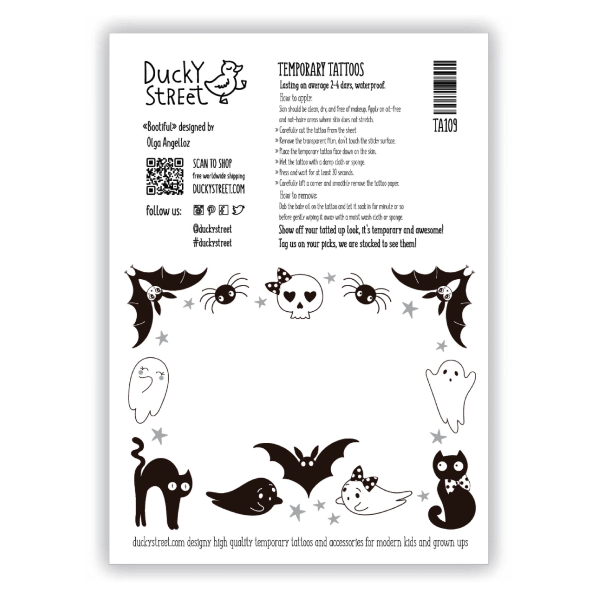 Ducky Street HALLOWEEN TATTOO -  Sticker Kinder tatoeages met water afneembaar