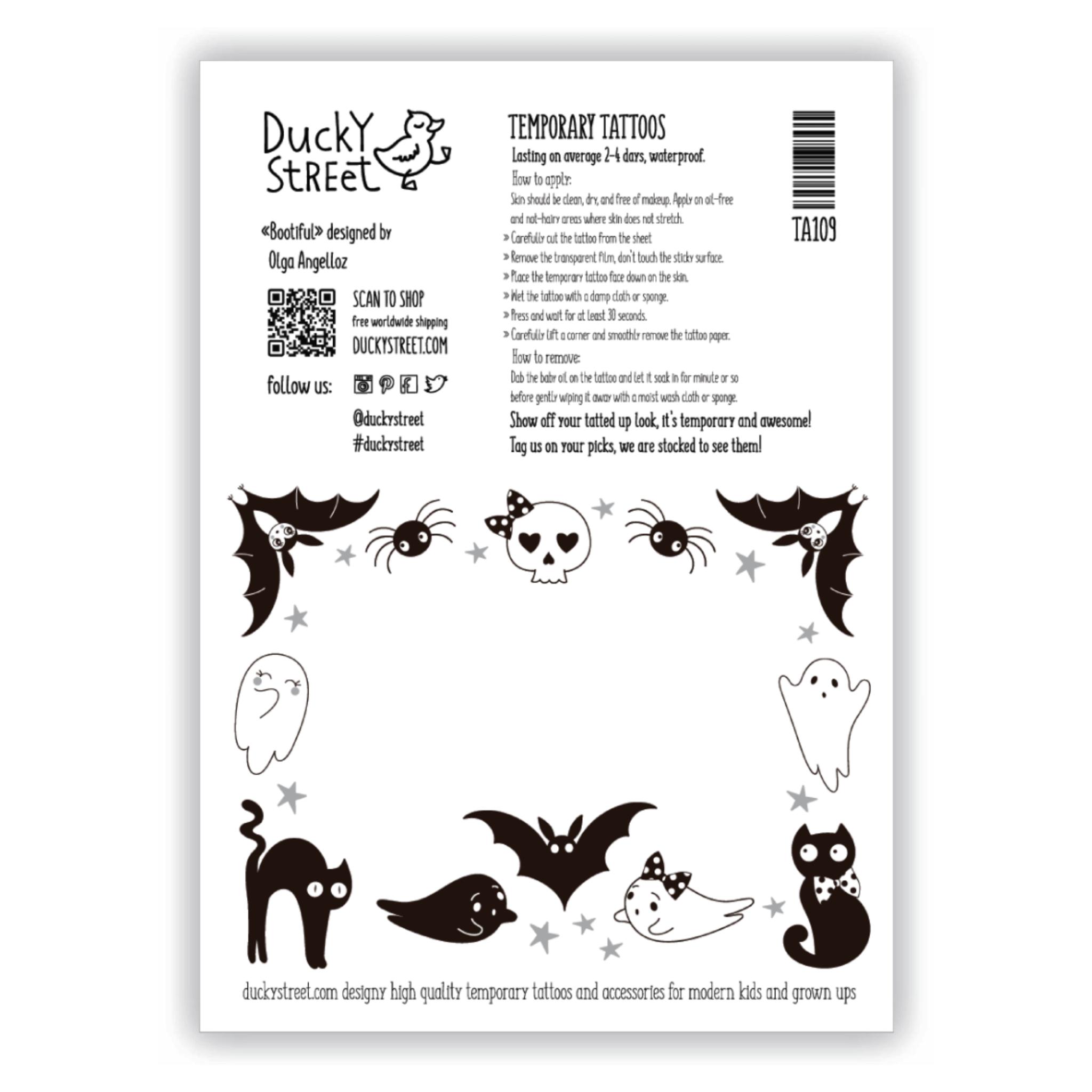 Ducky Street HALLOWEEN TATTOOS | CHILD TATTOO | TEMPORARY TATTOO
