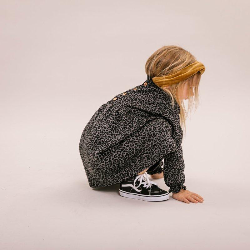 No Labels Kidswear DRESS GREY LEOPARD