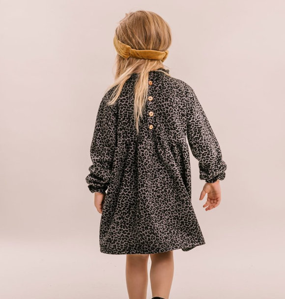 No Labels Kidswear DRESS GREY LEOPARD