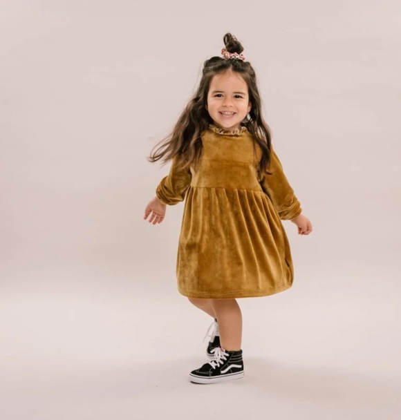 No Labels Kidswear DRESS VELVET GOLD