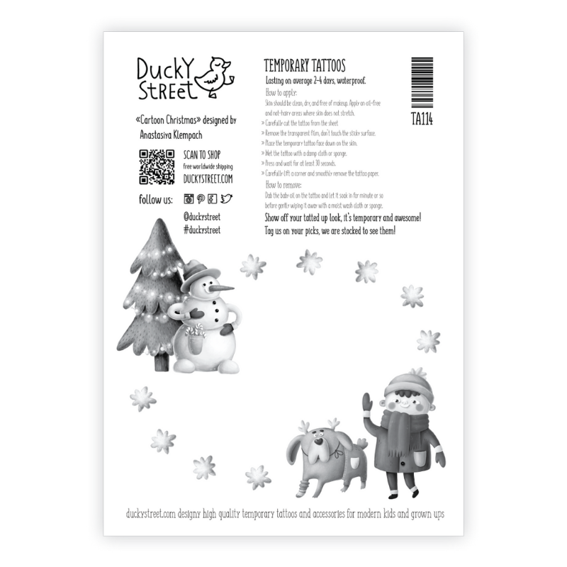 Ducky Street TATTOO IN KERST THEMA |  Huidvriendelijke Kinder tatoeages