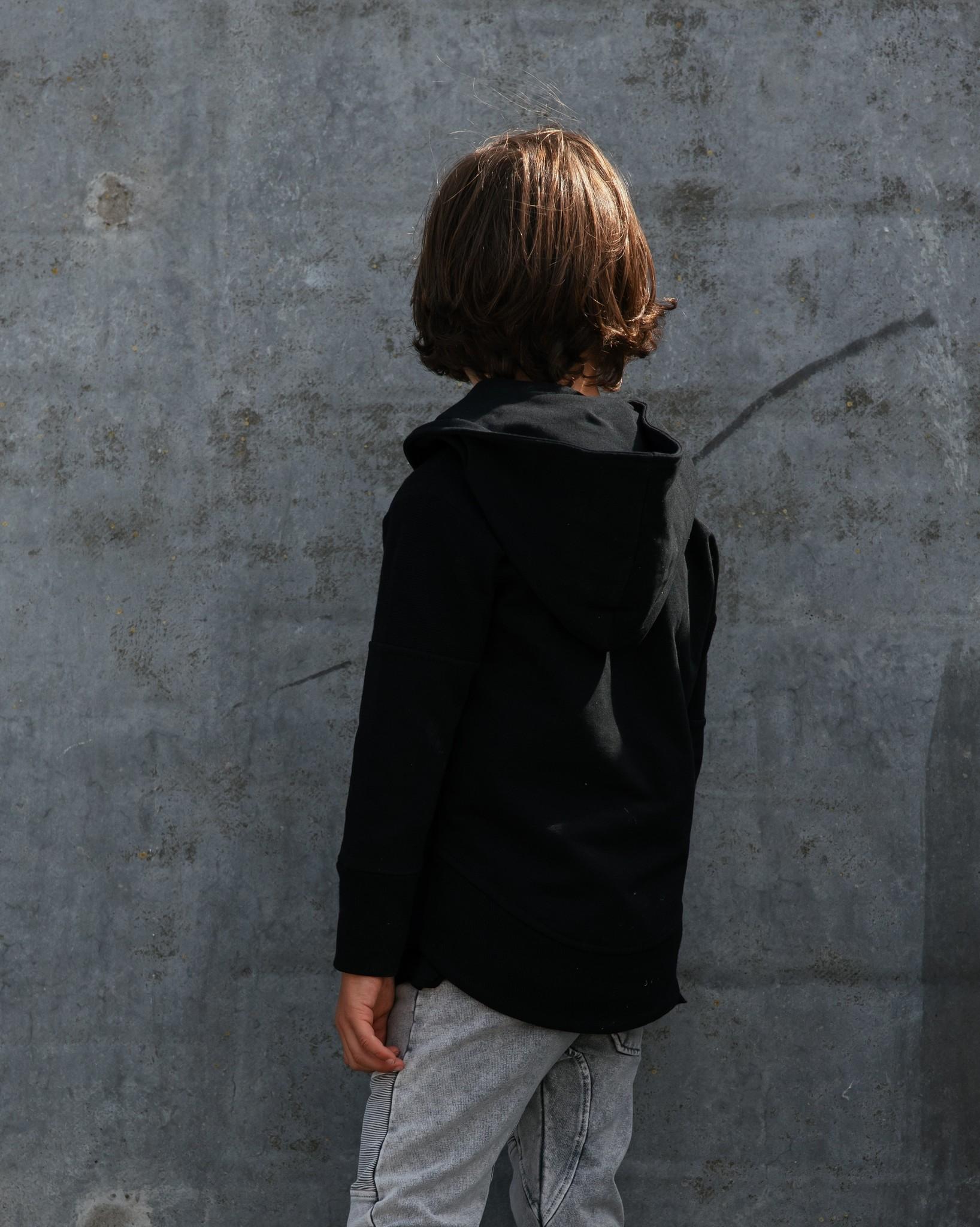 Minikid BLACK HOODIE FOR CHILDREN | BAD CARDIGAN WITH HOOD | MINIKID