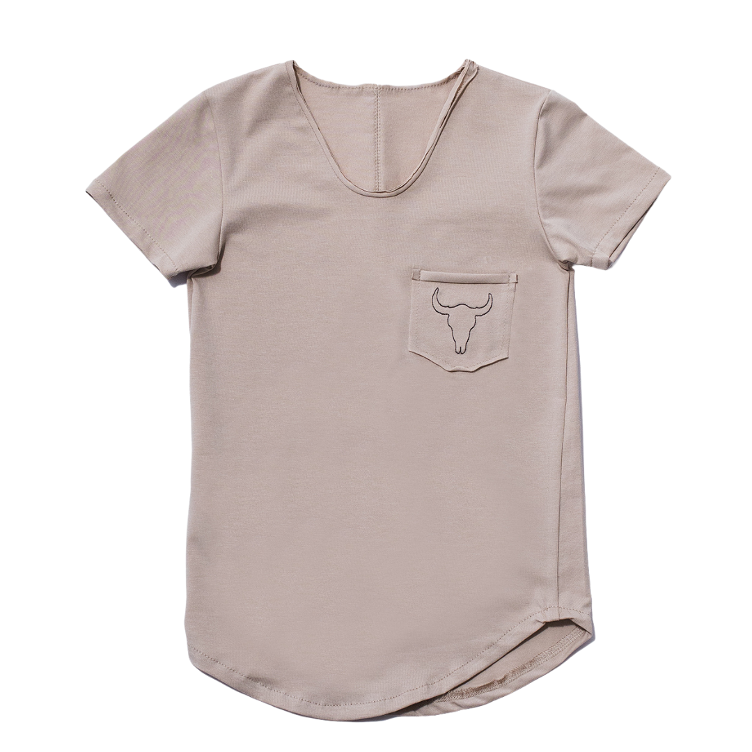 Booso BEIGE SIMPLE TEE