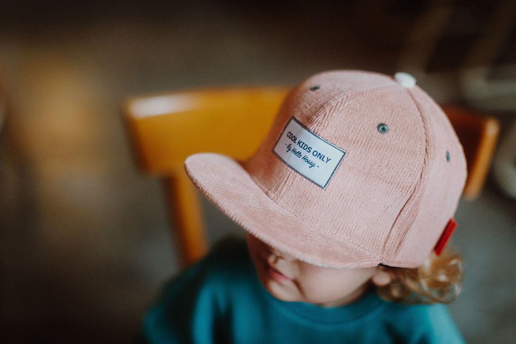 Hello Hossy  CHILDREN'S HAT   SOFT RIBBED CAP   PINK VELVET BABY CAP