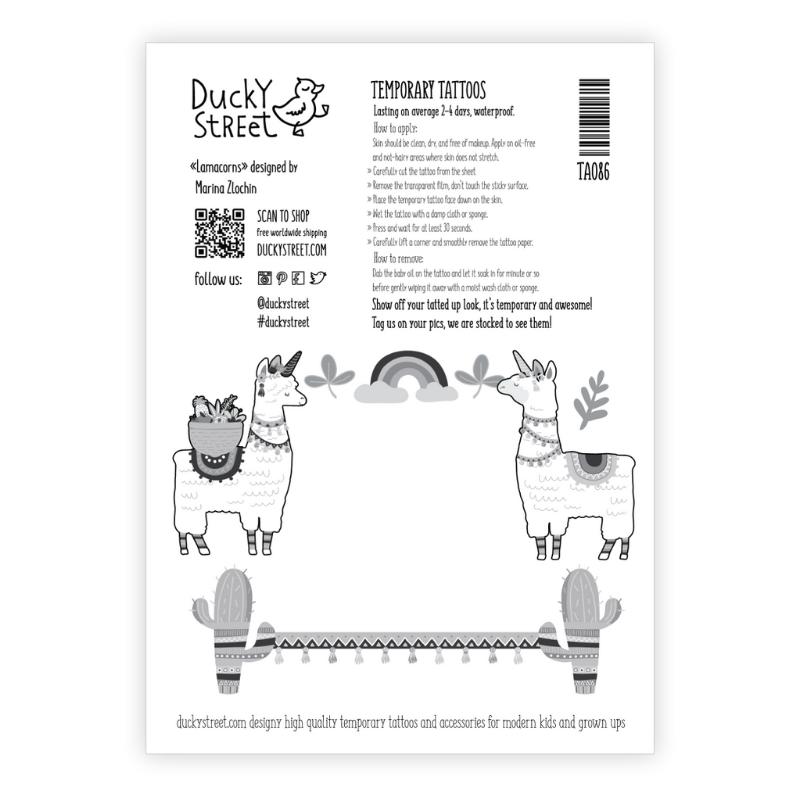 Ducky Street VROLIJKE TATOOS MET LAMA'S | KINDER TATOEAGE | TIJDELIJKE PLAK TATTOO