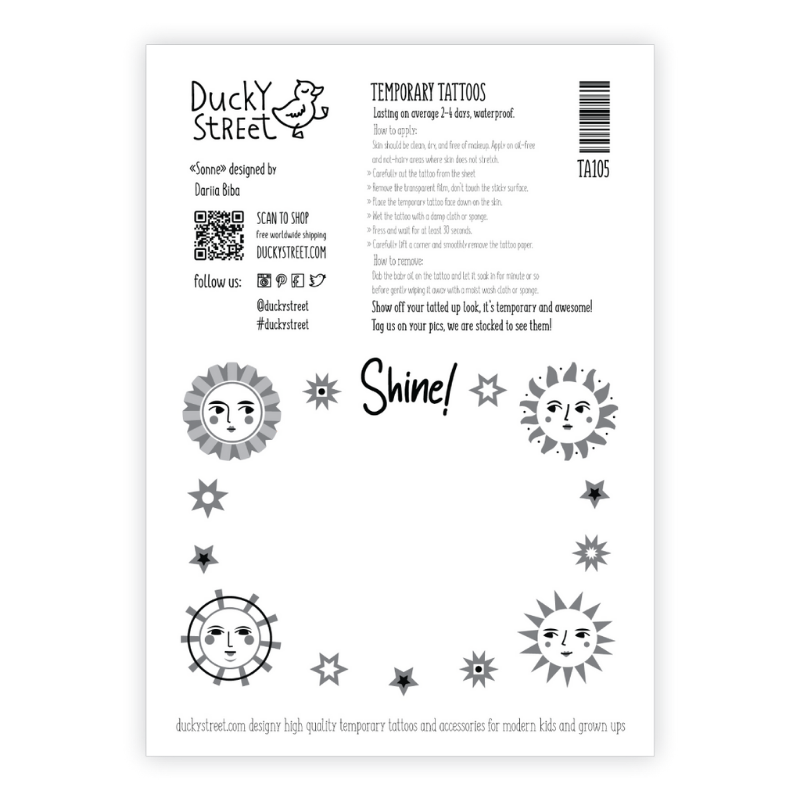 Ducky Street TATTOO MET DE ZON | KINDER TATOEAGE | TIJDELIJKE PLAK TATTOO