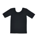 No Labels Kidswear ZWART SHIRT MET LAGE RUG | ZWART SHIRT MET LANGE MOUWEN | MEISJESKLEDING