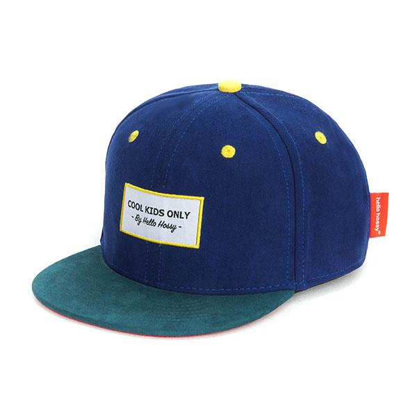 Hello Hossy CHILDREN'S CAP   SUEDE FABRIC CAP   DARK BLUE BABY CAP