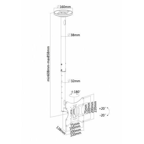 NewStar  FPMA-C060BLACK TV Plafondbeugel