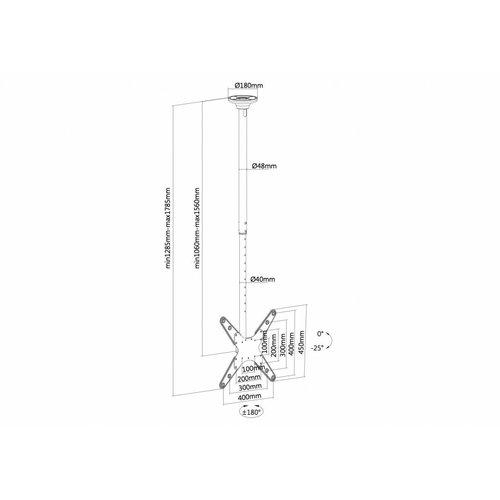 NewStar FPMA-C340BLACK TV Plafondbeugel