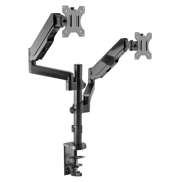 DQ Wall-Support Dubbele  Monitorbeugel zwart - met Gasveer