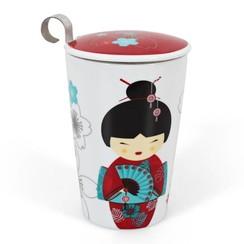 Theemok 'Little Geisha Red' met theezeef