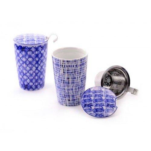 van Bruggen thee Mok blauw ruit