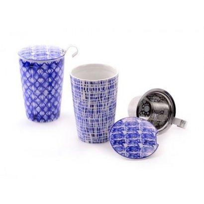 van Bruggen thee Mok blauw vierkantjes