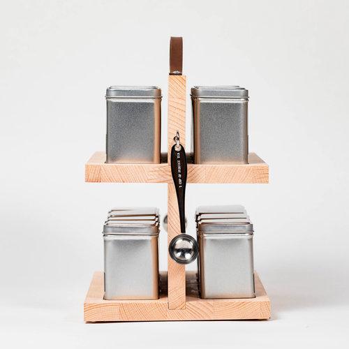 Santheé Dubbele theedrager met vierkante blikjes