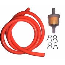 Benzinschlauch 1 m orange inkl. Benzinfilter und Clips
