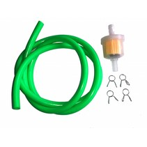 Benzinschlauch 1 m grün inkl. Benzinfilter und Clips