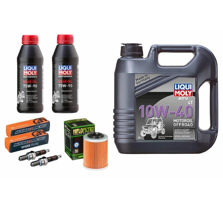 Großes Wartungsset 4 Liter 10W-40 + Ölfilter HF152 + Zündkerzen + Getriebeöl für Odes Marder 850