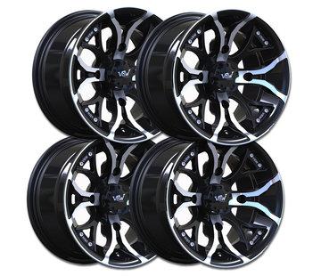"VBW - tires A2 ATV 12"" Alufelgen Satz silver/ matt black 12x7 & 12x8 Lochkreis 4x110"