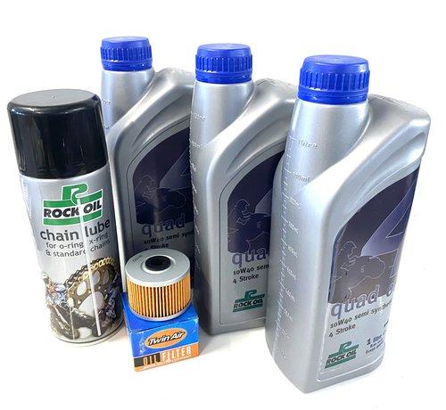 Rockoil Ölwechselset Quad Dinli 450 S / R Service 3 x Liter Öl + Filter + Kettenspray