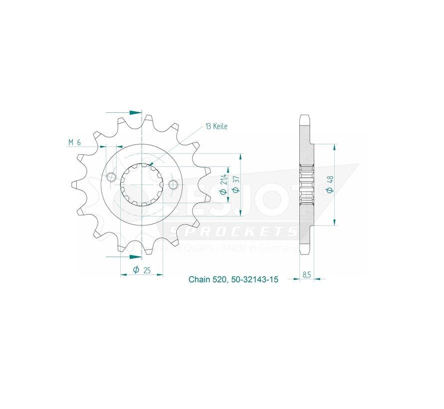 Ritzel 50-32143-15 für Subaru Motor Dinli 450 / Adly 500 / SMC Canyon 500