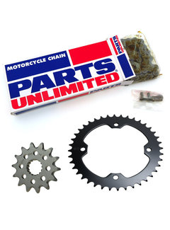 Parts Unlimted Antriebssatz Set Kette + Ritzel + Kettenrad für Dinli Special 450