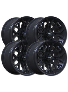 "VBW - tires A2 ATV 12"" Alufelgen Satz schwarz matt 12x7 & 12x8 Lochkreis 4x136"