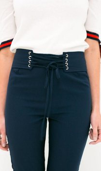 Navy Trousers with lace up corset details