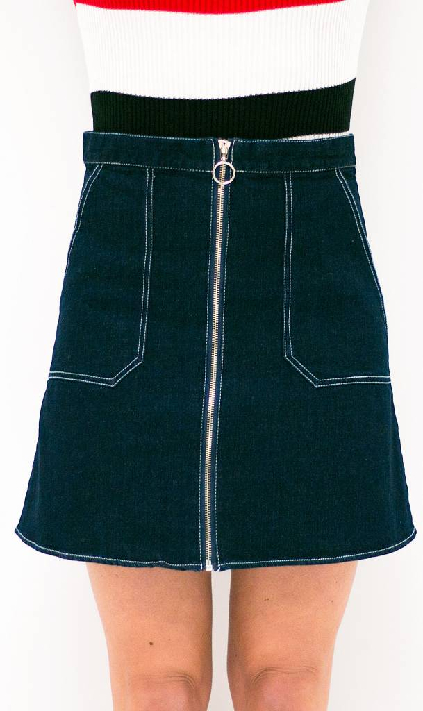 Denim Skirt With Ring Detail Zipper