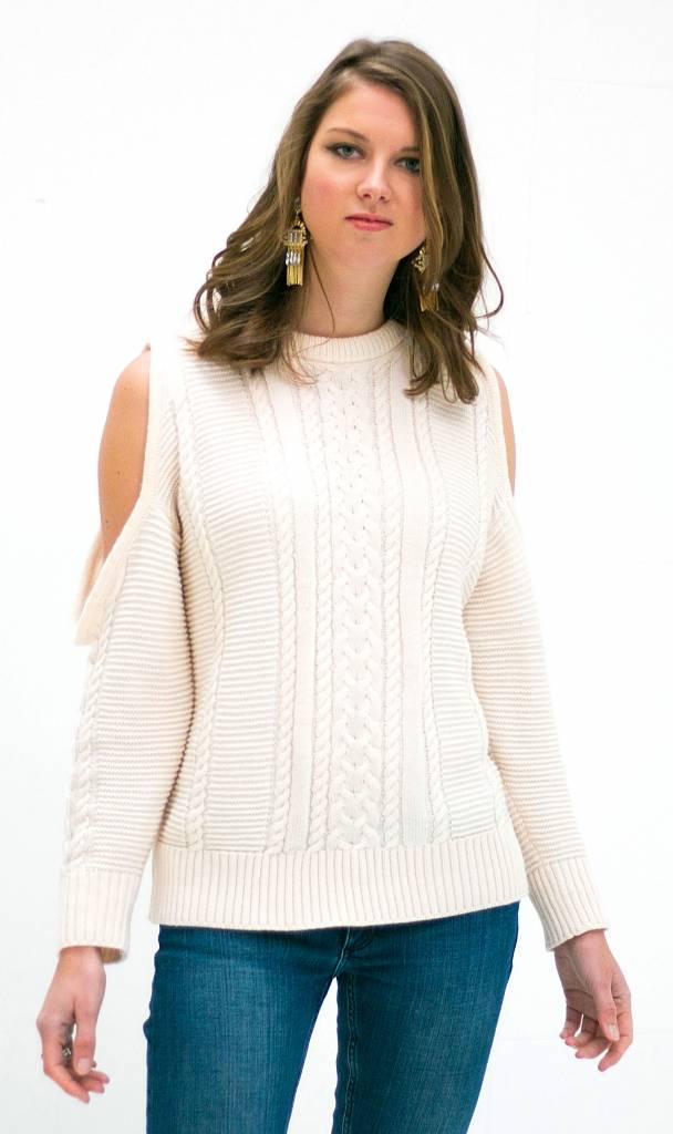 White Off Shoulder Knit