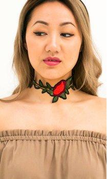 Choker Borduursels met rozen