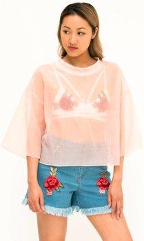 Roze Mesh T-shirt
