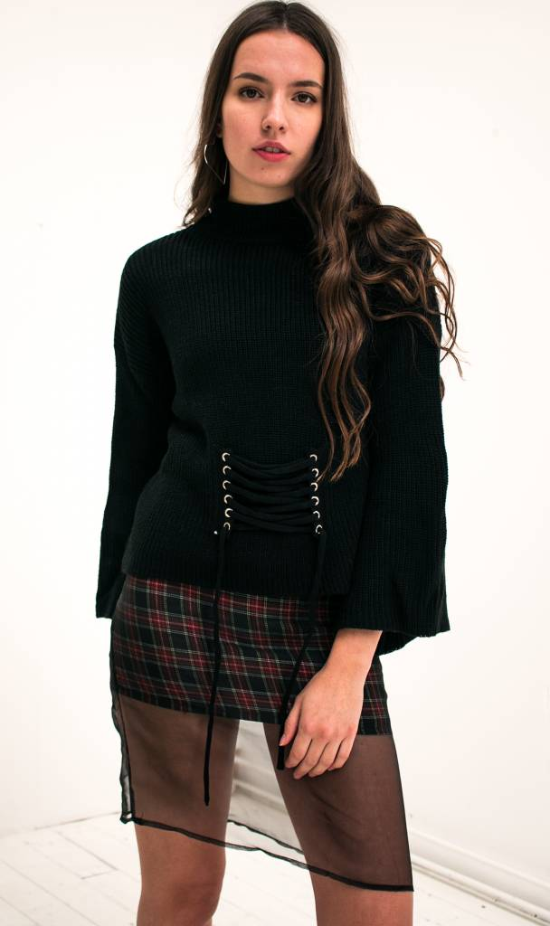 black lace up knit