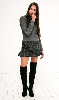 Checkered ruffle skirt