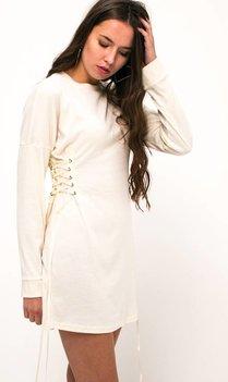 Cremekleurig lace up jurkje