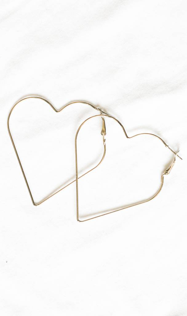 Heart shaped hoop earrings silver