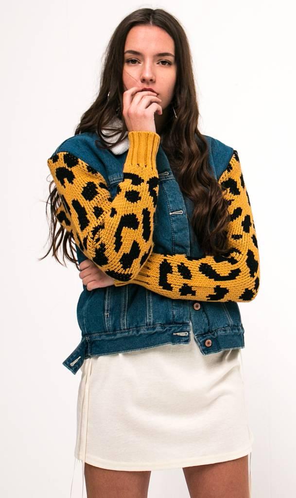 Luipaard denim jacket met teddy voering