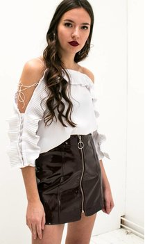 White Off Shoulder Ruches Top