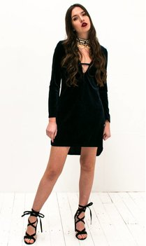 Navy Velvet Shift Dress