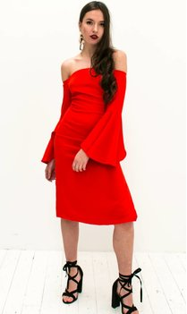 Red Off shoulder Dress