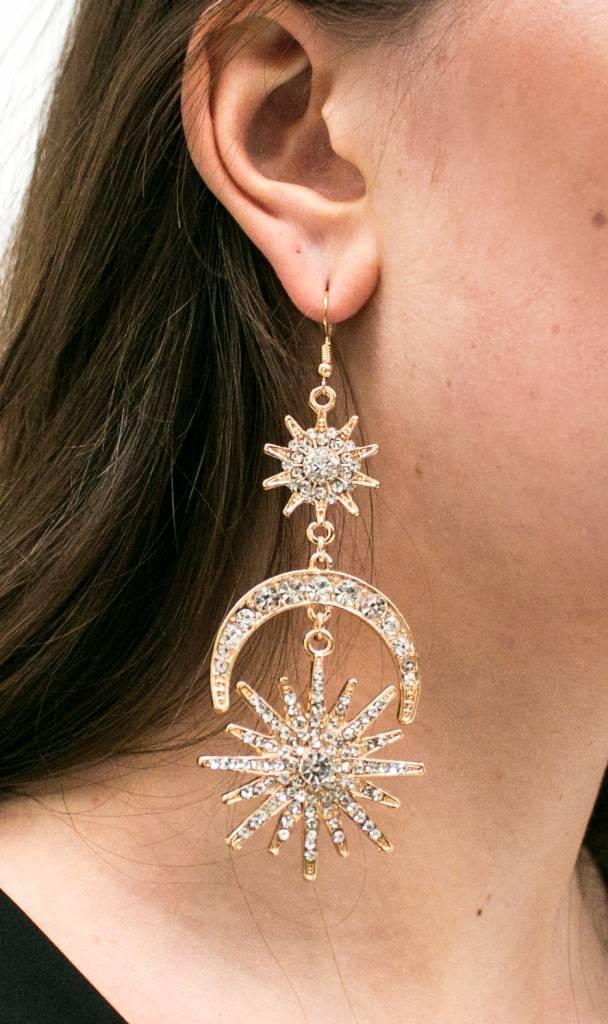 Golden Statement Galaxy Earrings