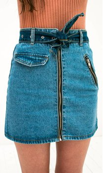 Denim Skirt with zipper