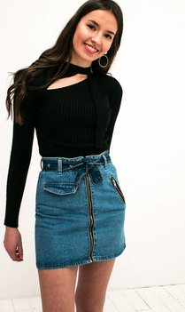 Black Choker Buckle Top