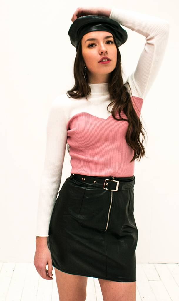 Contrast Top Roze