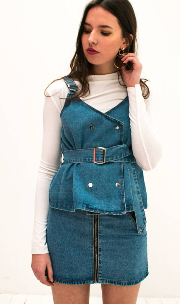 Denim Top with belt