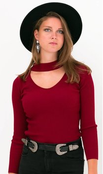 Choker Top Bordeaux rood