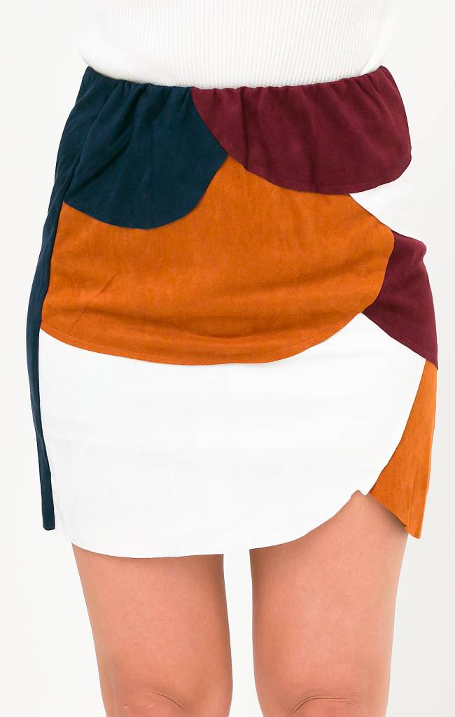 Suede patchwork skirt